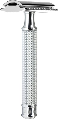 MÜHLE – Klassischer Rasierhobel – geschlossener Kamm – Griff Metall verchromt / feine Ziselierung2